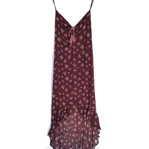 NWT Xhilaration Maxi Floral Dress Burgundy L